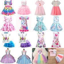 Kids Flower Girl Unicorn Princess Tutu Dress Party Birthday Bridesmaid Christmas