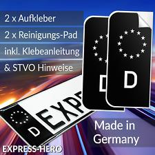 2x Kennzeichen Aufkleber Schwarz Nummernschild EU Feld Blau D Sticker Set Tuning
