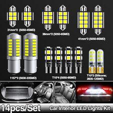 14pcs Car Interior LED Dome Trunk Map Lights Kit T10 168 194 Festoon 31mm C5W