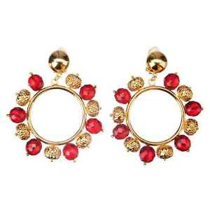 DOLCE & GABBANA RUNWAY Kugel Creolen Clips Ohrringe Rot Gold 07544