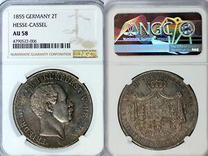 1855 Hesse-Cassel 2 Taler NGC AU58