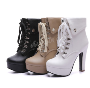Women's Chic Lace Up Riding Ankle Boot High Heel Block Platform Gladiator Shoes