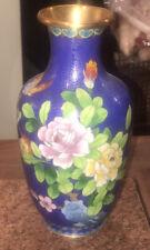 Vintage Medium Cloisonné Floral Butterfly Vase Blue Green White 10 1/8 Tall