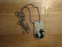"""Tommy Gun Mobster Graphic Dogtag Necklace With 30"""" Aluminum Ball Chain"""