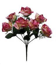 7 Open Roses Cream Mauve Soft Touch Silk Wedding Bouquet Flowers Centerpieces