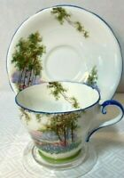 VINTAGE AYNSLEY BLUEBELL TIME (BLUE TRIM) ENGLISH  BONE CHINA CUP & SAUCER