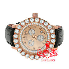 Real Diamonds Solitaire Bezel Gold Tone Leather Strap Band Khronos Watch W/Date
