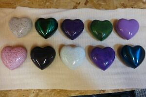 Beautiful selection of heart shaped cremation token urns ,ashes remains keepsake