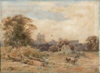WINDSOR CASTLE IN LANDSCAPE Antique Watercolour Painting SIGNED - 19TH CENTURY