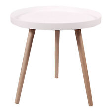REDCAMP Round Nesting Tables, White Mid Century Modern, Sturdy Wood Side Table