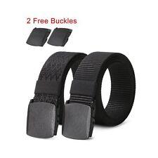 2 pack Mens Nylon Belt with Plastic Buckle TSA Belt, Adjustable Black Military