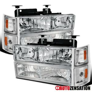 For 94-98 Chevy C/K Tahoe Suburban Clear Headlights+Corner Signal+Bumper Lamps