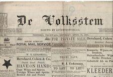 SOUTH AFRICA DE VOLK NEWSPAPERS FIRST BOER WAR MAHUBA 1881