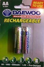 2 X AA Rechargeable NiMH Batteries, 1.2V, HR6, 600mAh, Pre-Charged Ni-Mh