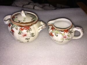 Vintage Oriental Design Sugar and Creamer Set Nice Flower Design