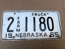 1965 Nebraska License Plate 2-1180 Plates 65