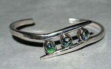 Vtg Sterling Silver & Glass Harlequin Opal Bezel Set Stones Bangle Bracelet Cuff