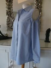 CALVIN KLEIN Cotton Blue White Stripe Cold Shoulder Long Shirt Top L 14 16 BNWT