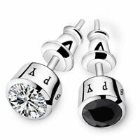 MEN'S STUD EARRINGS BLUE WHITE BLACK CZ CRYSTAL STUD SPY SILVER PLATED EARRINGS