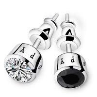 CZ Men's Stud Earrings Round Cut White Blue Black Silver Plated Earrings Pouch