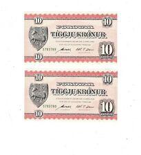 Faeroe Islands 10 kronur 2 Consecutive Notes P14d  PB1
