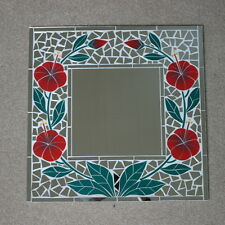 Superba realizzati a mano mosaico specchio con Poppys colore 40x40 cm di larghezza