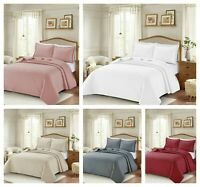 New 3Pcs Luxury Embossed Quilted Bedspread Eiderdown Comfoter Throw Pillow Sham