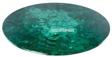 "24"" Green Marble Coffee Table Top  Pietra Dure Malachite Gemstone Outdoor Decor"
