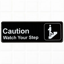 "Caution Watch Your Step Sign - Black and White, 9"" x 3"", Safety / Caution Sign"