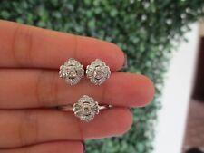 .45 CTW Diamond Earrings & Ring Set 14K White Gold E165 sep