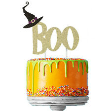 Happy Halloween Cake Topper - Glittery Gold Boo with Black Witches Hat Cake Deco