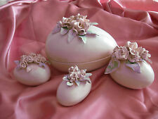NEW Made in USA Elegant Ceramic Easter Eggs with Handmade Clay Flowers Airbrush