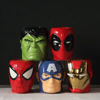 Marvel Avengers 3D Ceramic Mug Spiderman Deadpool Hulk Iron Man US Captain Cup