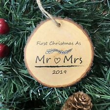 First Christmas As Mr & Mrs Gift Decoration Tree Bauble Log Slice Effect 2019