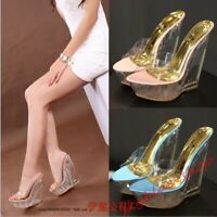 Ladies Platform Fashion Transparent Wedge Slipper Sandals Clear High Heel Shoes