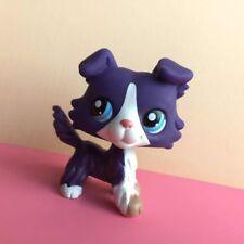 Littlest Pet Shop Animals LPS Toy #1676 Collie Purple White Dog Blue Eyes RARE D