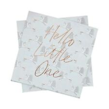 Hello Little One Baby Stork Welcome New Arrival Party Rose Gold Napkins
