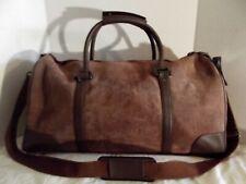 Vintage Malboro 2003 Guts Grit Gear Dark Brown Suede Leather Duffel Bag