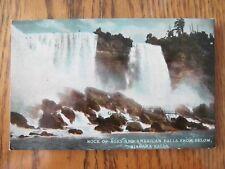 Vintage Postcard Rock Of Ages American Falls From Below Niagara