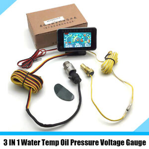 3 IN 1 LCD Car Water Temp Oil Pressure Voltmeter Gauge Meter with 1/8 NPT Sensor