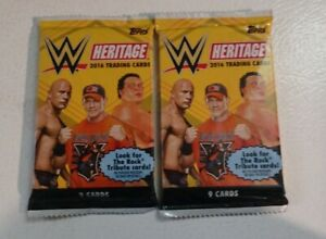 (2) 2016 Topps Heritage Wrestling WWE Trading Cards Factory Sealed Pack LOT