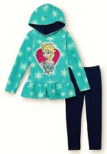 DISNEY FROZEN ELSA Fleece Hoodie & Leggings Set Outfit Girls Sz. 4 5 6 or 6X