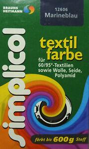 ★ 5 Päckchen Simplicol Textilfarbe 25g von Brauns-Heitmann ★ MARINEBLAU ★