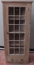 Escaparate angular vidrio tipo inglés cm 140x42,5x60 Teca madera maciza blanco