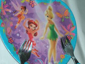 Disney Zak Campanilla, Cenicienta, Ariel Niños Corazón Placa & 2 Tenedor Juego
