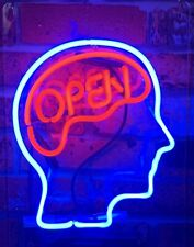 Open Mind Brain Neon Sign Lamp Light With Dimmer Acrylic Beer Bar