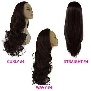 "22"" Ladies 3/4 Wig Half Fall Clip Hair Piece Dark Brown #4 3 Styles"