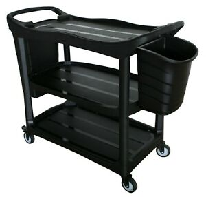 Dish-Collecting Utility Bussing Rubbermaid Trolley with Bin Buckets