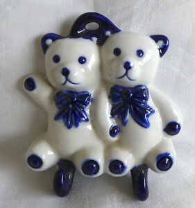 HANDMADE CERAMIC WALL HANGER 2 HOOKS  BLUE AND WHITE LOVELY SHAPE OF TWIN BEARS