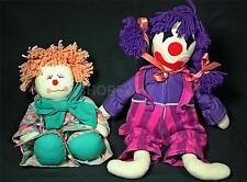 2 Vintage Hand-Crafted Cloth Clown Dolls from the 1960s